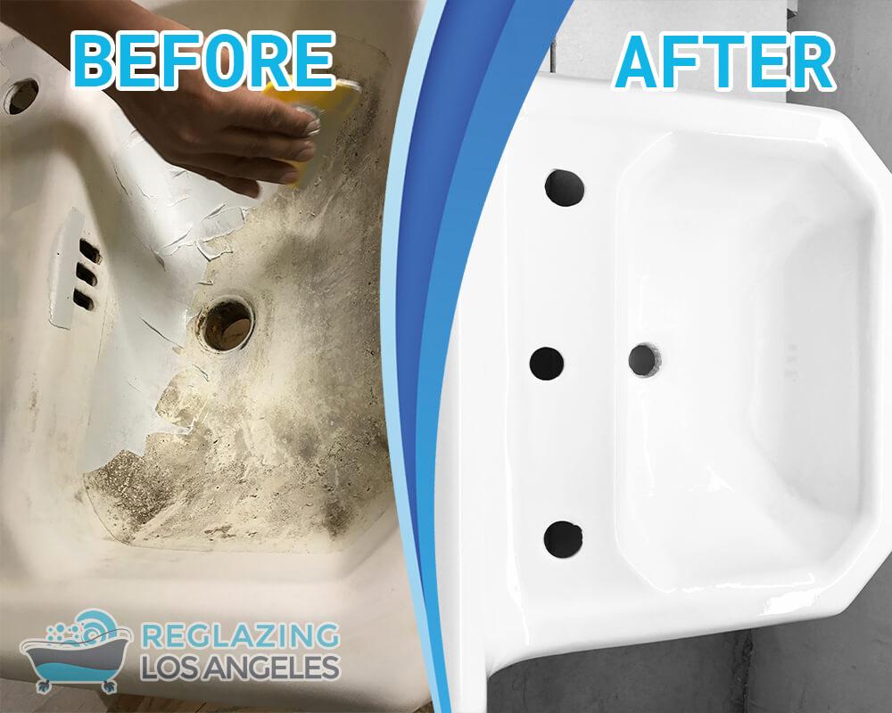 refinish kitchen sink small ideas pictures bathtub reglazing los angeles ca fiberglass porcelain refinishing