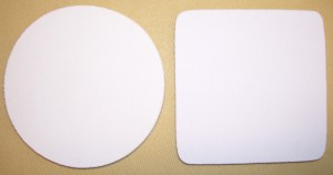 Blank White Coasters on Beige Rubber Base