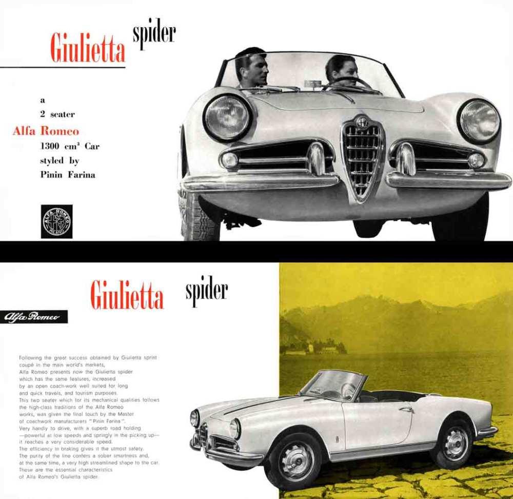 medium resolution of alpha romeo giulietta spider 1957 a two seater alfa romeo 1300 cm car styled by pinin farina