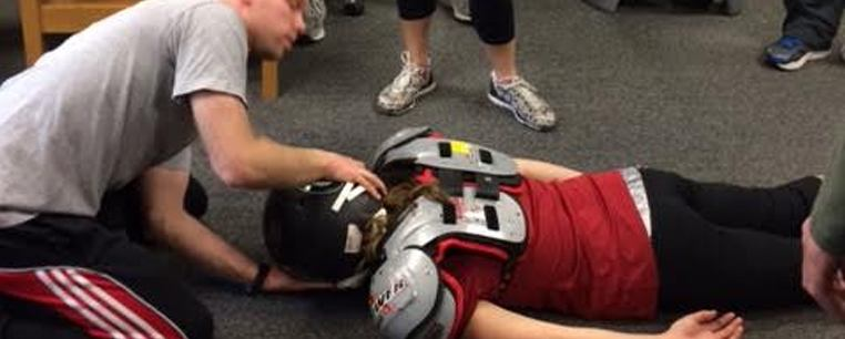Foundation and competencies course demonstration sports injury and emergency medical response.