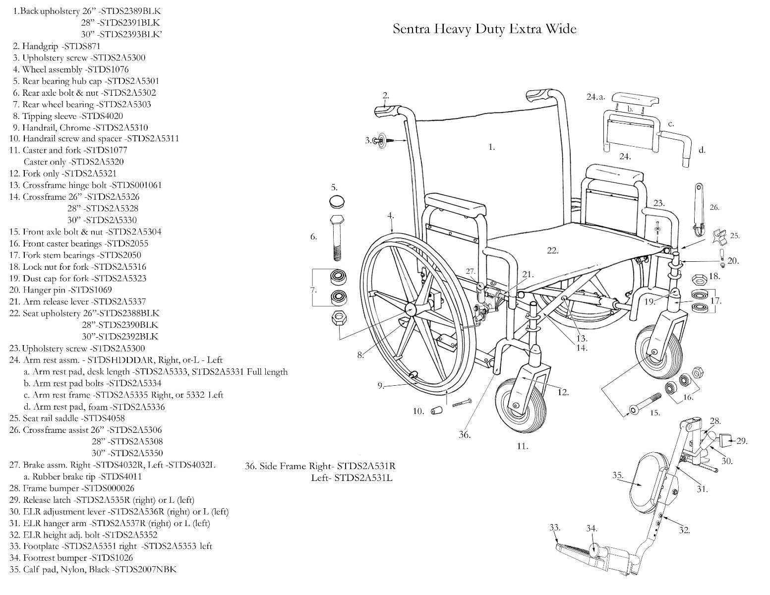 Sentra Bariatric Heavy Duty Dual Axle Extra Wide Wheelchair
