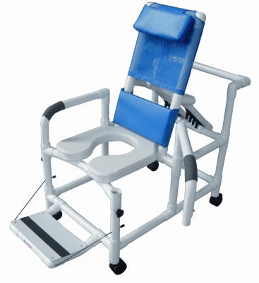 Lumex PVC Reclining Shower Commode Chair