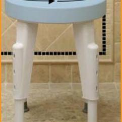 Revolving Chair And Orange Slipper Rotating Round Shower Safety Stool