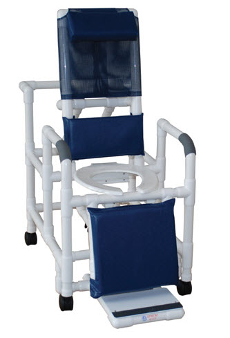 Reclining Shower Chair With Sliding Footrest And Deluxe