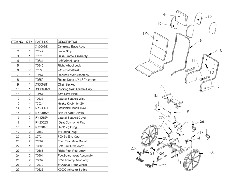 Replacement Components for the RockKing X3000 Wheelchair