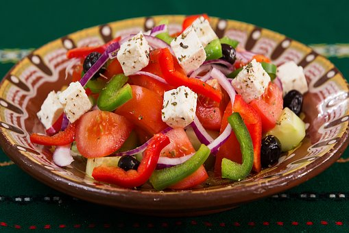 Salad eaten when following a Mediterranean diet