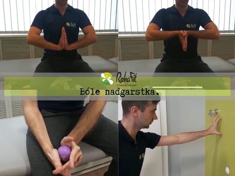 Fizjoterapeuta podczas instruktażu ćwiczęn w przypadku wystepowania bólów nadgarstka.