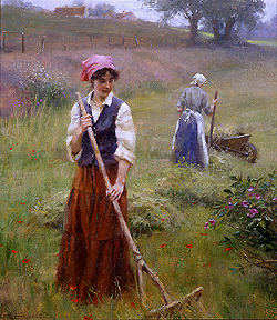 Tender Fields by Gregory Frank Harris - 20 x 18 inches Signed contemporary american landscape plein air plain air figurative figures peasants
