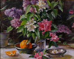 Still Life with Lilacs and Azaleas by Gregory Frank Harris - 14 x 18 inches Signed american contemporary still life flowers florals