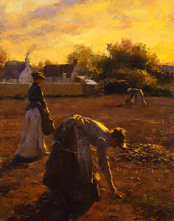 When Dawn Breaks by Gregory Frank Harris - 14 x 11 inches Signed; also signed and titled on the reverse greg harris contemporary landscape plein air plain air figurative figures peasants harvesters harvesting