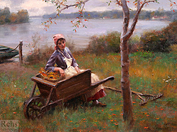Autumn Along the River by Gregory Frank Harris - 12 x 16 inches Signed; also signed, titled and dated on the reverse greg harris contemporary landscape plein air plain air figurative figures peasants harvesters harvesting