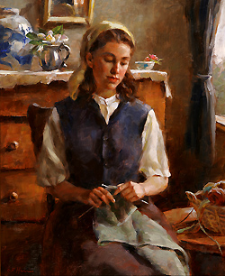 A Quiet Pastime by Gregory Frank Harris - 20 x 16 inches Signed; also signed, titled and dated on the reverse american genre figure figurative interior peasant