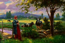 Peaceful Morning by Gregory Frank Harris - 24 x 36 inches Signed; also signed and titled on the reverse contemporary landscape plein air plain air figurative figures