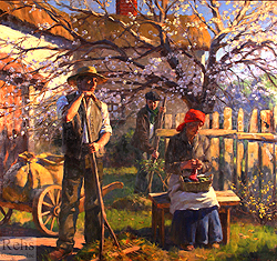 The Eventide of Spring Comes Gently by Gregory Frank Harris - 58 x 62 inches Signed; also signed, titled and dated on the reverse contemporary landscape plein air plain air figurative figures peasants