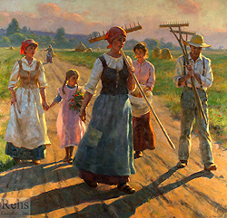 The Road Home by Gregory Frank Harris - 46 x 48 inches Signed; also signed, dated, and titled on the reverse contemporary landscape plein air plain air figurative figures peasants harvesters harvesting