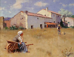 Andalusian Farmhouse by Gregory Frank Harris - 14 x 18 inches Signed; also signed and titled on the reverse contemporary american realist