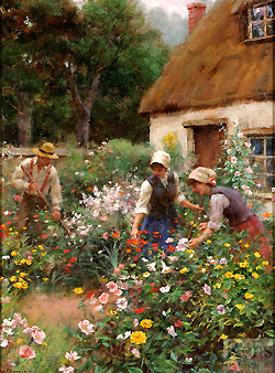 A Cottage Garden by Gregory Frank Harris - 16 x 12 inches Signed; also signed and titled on the reverse english cottage garden peasants figurative genre