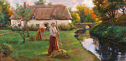 A Riverside Cottage by Gregory Frank Harris - 12 x 24 inches Signed; also signed and titled on the reverse english cottage garden peasants figurative genre