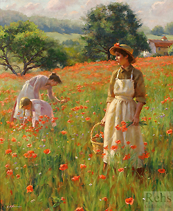 The Poppy Field by Gregory Frank Harris - 24 x 20 inches Signed; also signed and titled on the reverse english cottage garden peasants figurative genre field of flowers