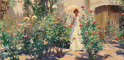 Garden of Roses by Gregory Frank Harris - 8 x 16 inches Signed; also signed and titled on the reverse rose bushes floral flowers garden genre figurative