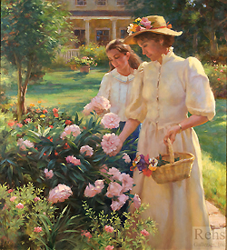 June Rhododendrons by Gregory Frank Harris - 44 x 40 inches Signed; also signed and titled on the reverse american contemporary genre garden figures figurative