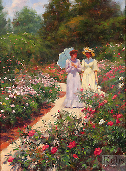 June Roses by Gregory Frank Harris - 16 x 12 inches Signed; also signed and titled on the reverse elegant women in a sunlit garden