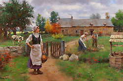 Early Fall by Gregory Frank Harris - 18 x 27 inches Signed; also signed and titled on the reverse american contemporary genre figures peasants