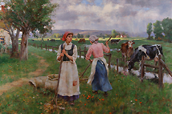 Distant Light on the Pasture by Gregory Frank Harris - 24 x 36 inches Signed; also signed, titled and dated on the reverse contemporary american traditional genre peasant cows farm