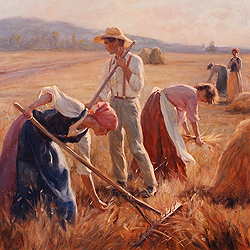 A Bountiful Harvest by Gregory Frank Harris - 36 x 36 inches Signed contemporary landscape plein air plain air figurative figures peasants harvesters harvesting