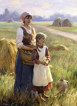 A Peaceful Time by Gregory Frank Harris - 24 x 18 inches Signed contemporary landscape plein air plain air figurative figures