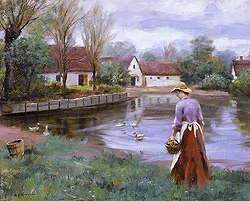The Village Pond by Gregory Frank Harris - 14 x 18 inches Signed contemporary landscape plein air plain air figurative figures