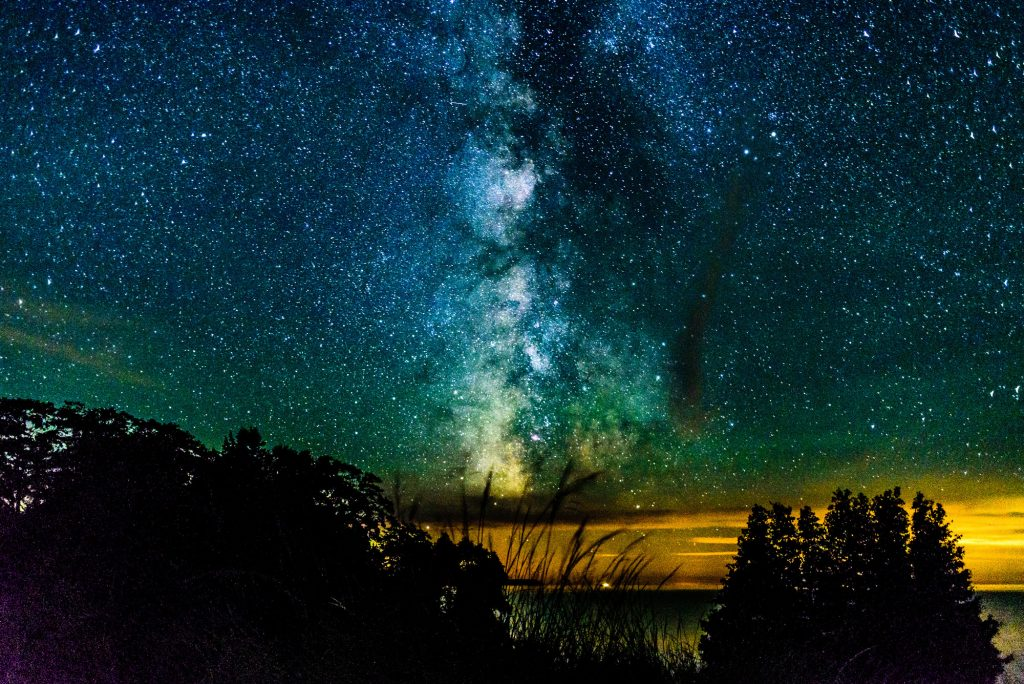 A view of the Milky Way over the shores of Lake Michigan on North Manitou Island.
