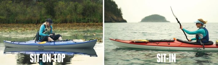 a visual example of the difference between a sit-on-top kayak and a sit-inside kayak