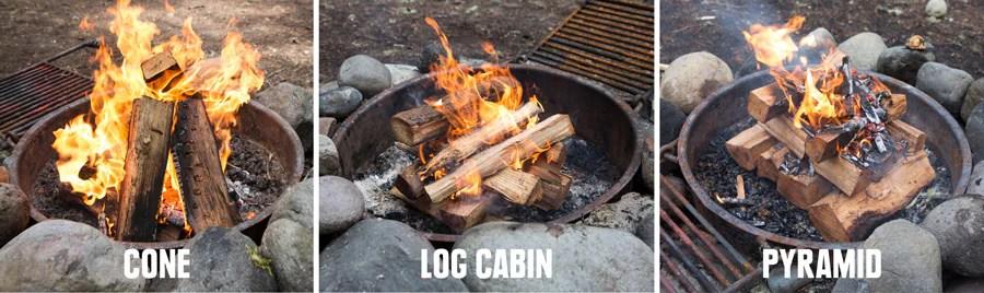 tiga jenis api unggun untuk dicoba: teepee, log cabin, dan pyramid