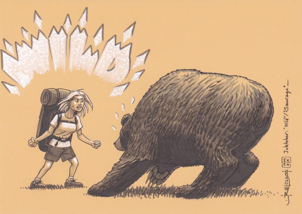 """Une jeune femme fait face à un ours énorme . Son cri """"WILD"""" fait reculer la bête apeurée."""