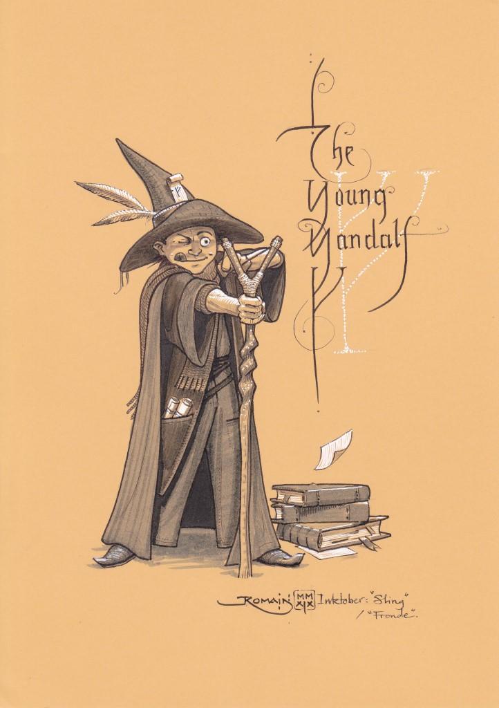 Un garçon en tenue de sorcier a posé sa pile de livre . Son bâton se termine par une fronde avec laquelle il vise quelque chose.