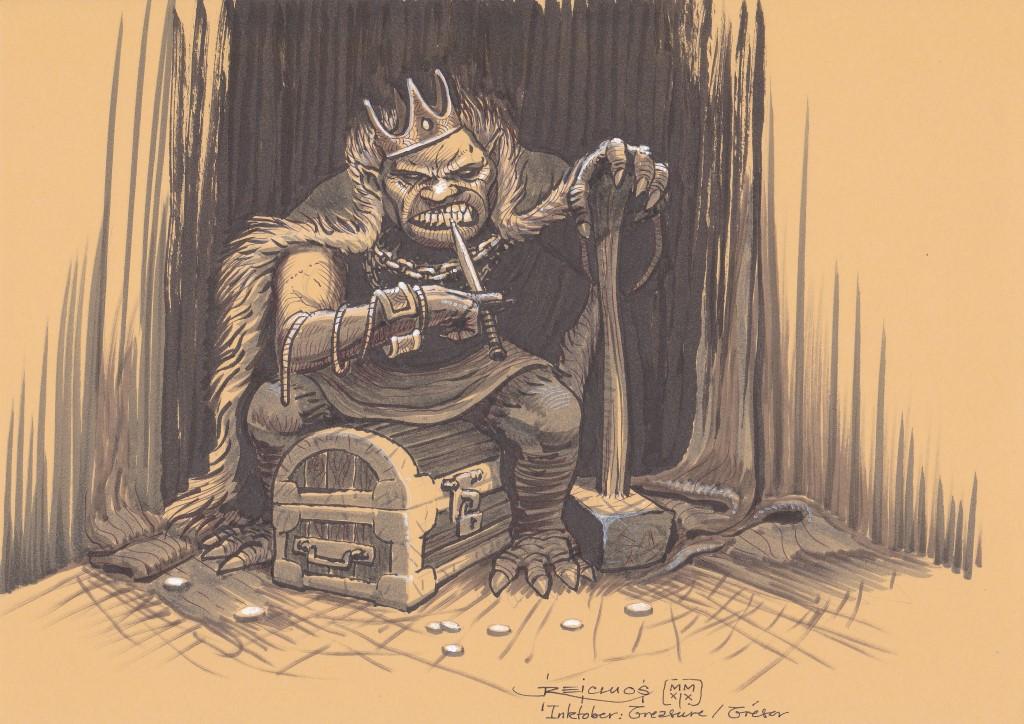 Un massif gardien est assis sur un coffre à trésor. Il est revêtu d'une couronne, d'un manteau de fourrure, de bijoux, et se cure les dents avec un poignard tout en s'appuyant sur une lourde masse. Il ne sembla pas décidé à partager.