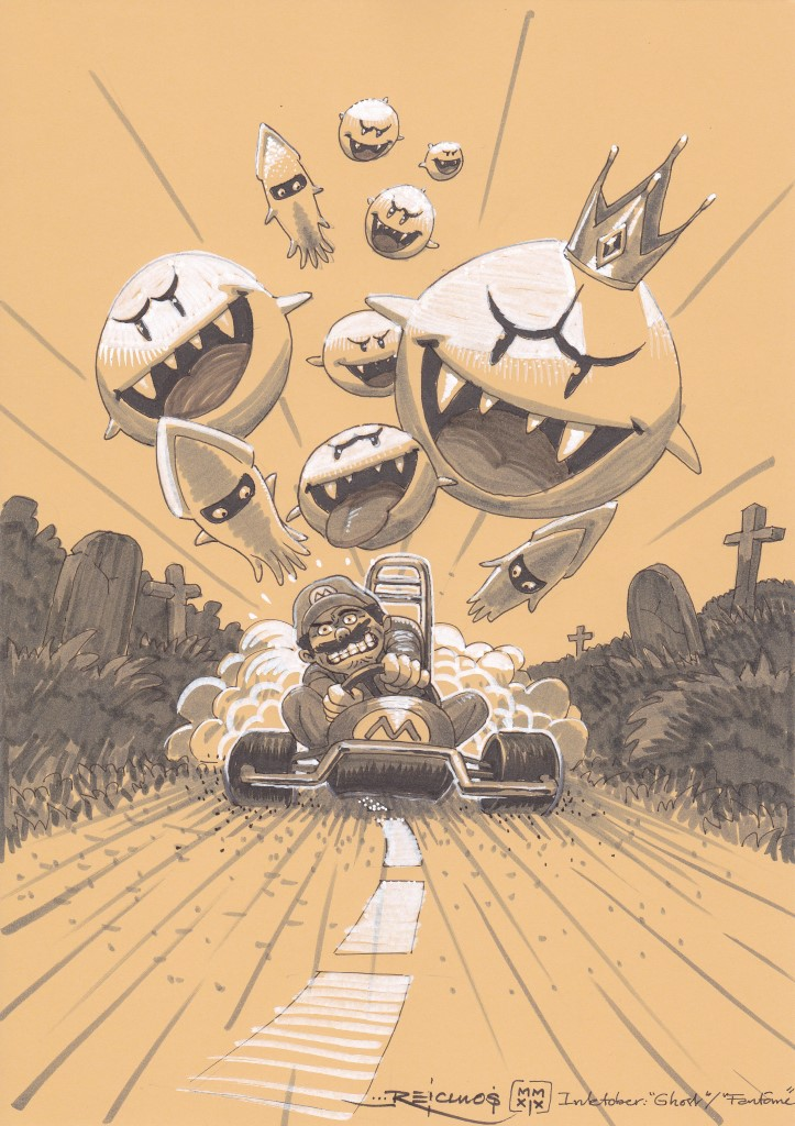 """Mario, du célèbre jeu """"Super Mario Kart"""", est pris en chasse par les fantômes de Nintendo"""