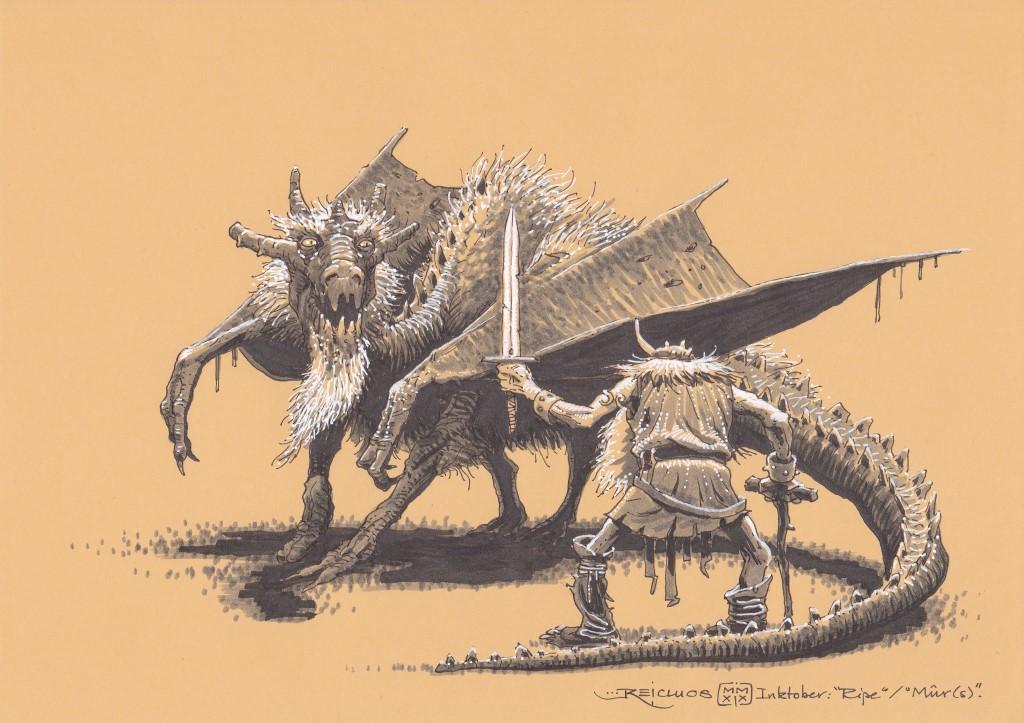 Un chevalier décrépi s'appuie sur sa canne pour brandir son épée ébréchée. Il fait face à un dragon au poils blancs, lui aussi très âgé.