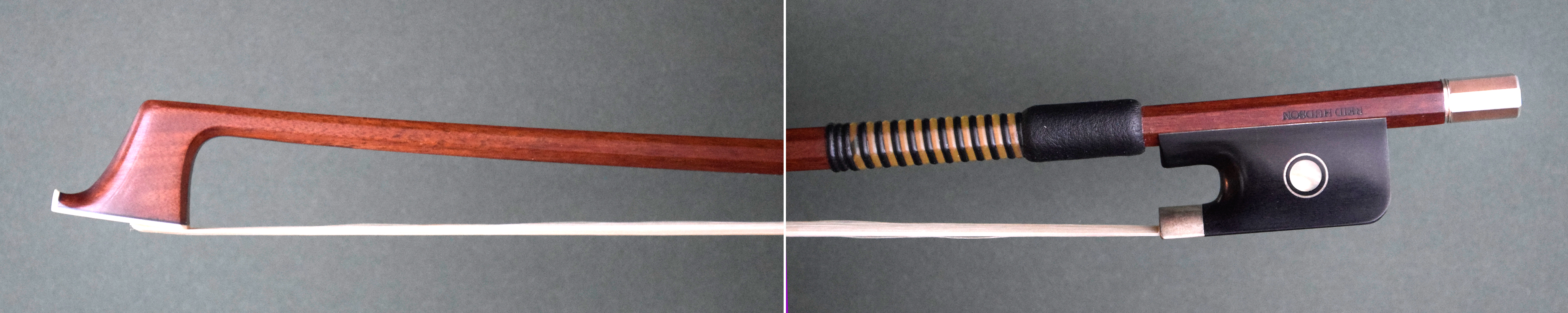 cello bow with an octagonal stick and whalebone wrap.