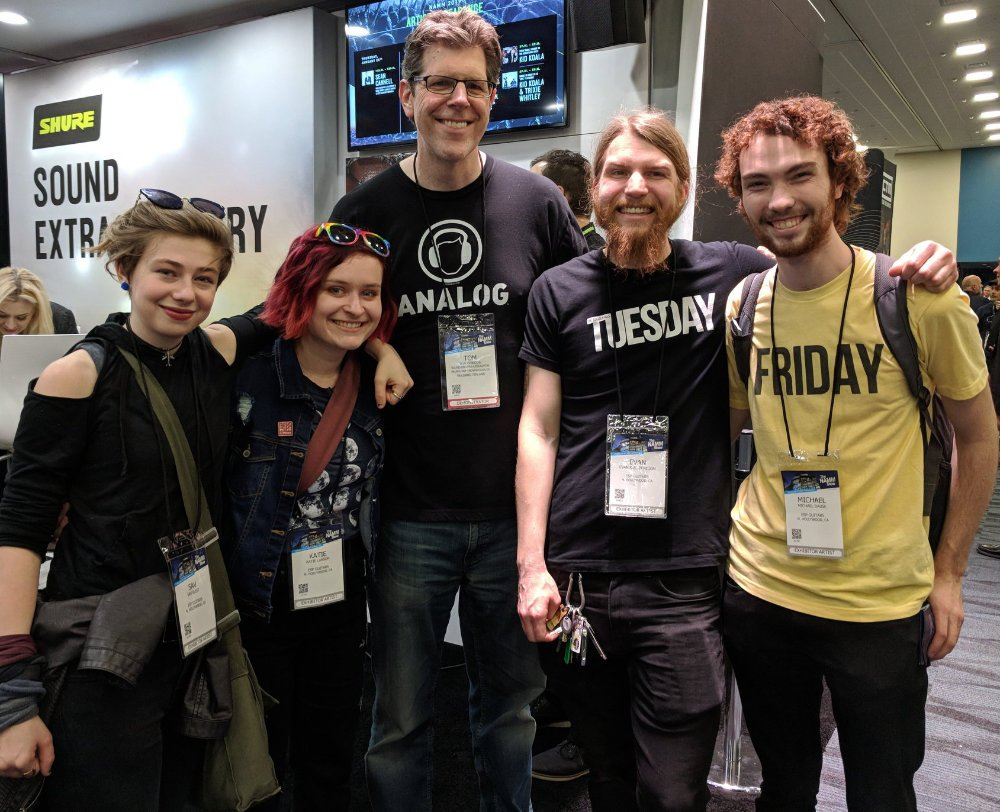 Tom Gordon wearing Analog tee - With band The Accidentals at NAMM 2019