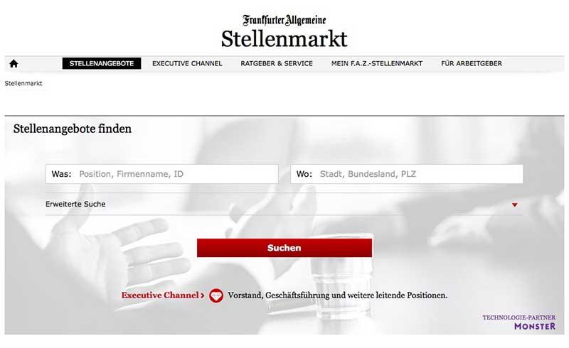 Neuer Online-Stellenmarkt der F.A.Z. in Kooperation mit dem ...