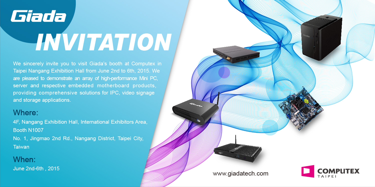 Exhibition Booth Invitation : Giada technology showcases its latest products at computex 2015