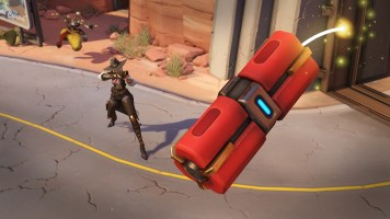 Ashe throws an explosive that detonates after a short delay or immediately when shot