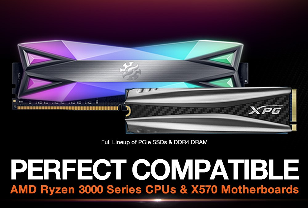 XPG PCIe SSDs and DDR4 DRAM are Compatible with AMD Ryzen 3000 Series CPUs