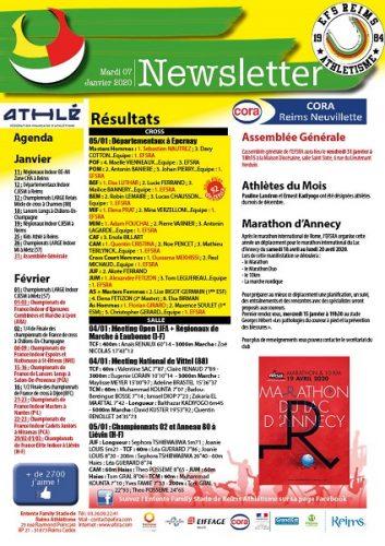 Newsletter du 07 janvier 2020 et Athlètes du mois de décembre