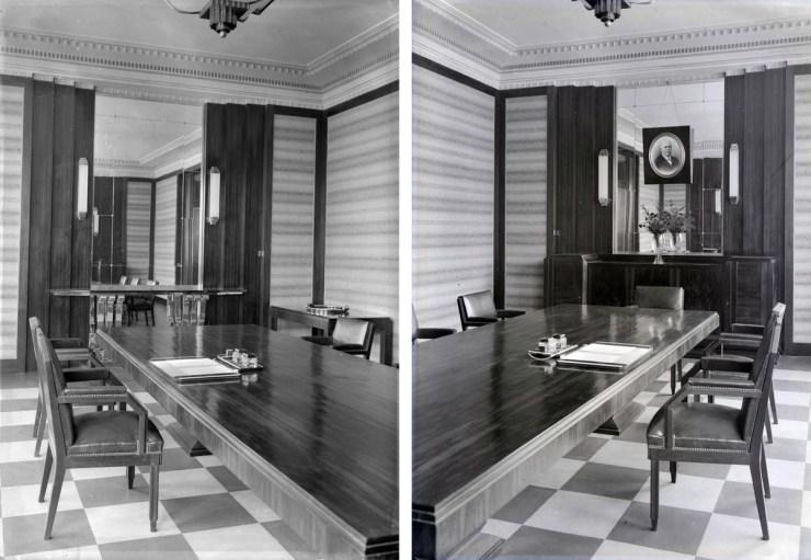 Intérieur : la salle du conseil d'administration. Au mur, le portrait de Modeste Goulet