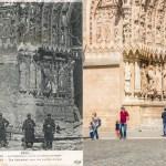 Le Portail Nord de la Cathédrale après l'incendie de 1914
