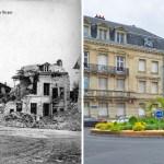 Place et rue Clovis après les bombardements