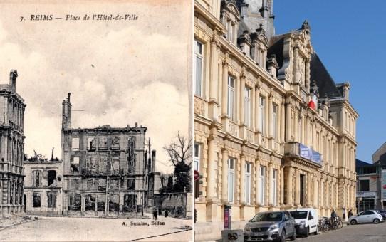 Place de l'Hôtel de Ville après les bombardements